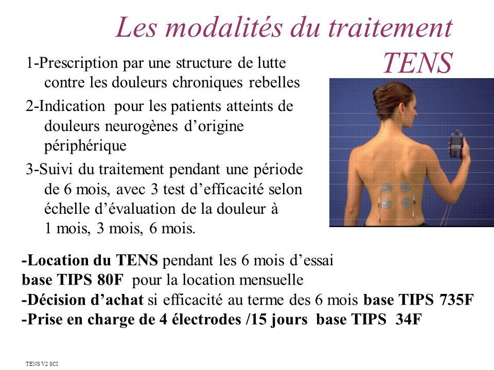 Les modalités du traitement TENS 1-Prescription par une structure de lutte contre les douleurs chroniques rebelles 2-Indication pour les patients atte