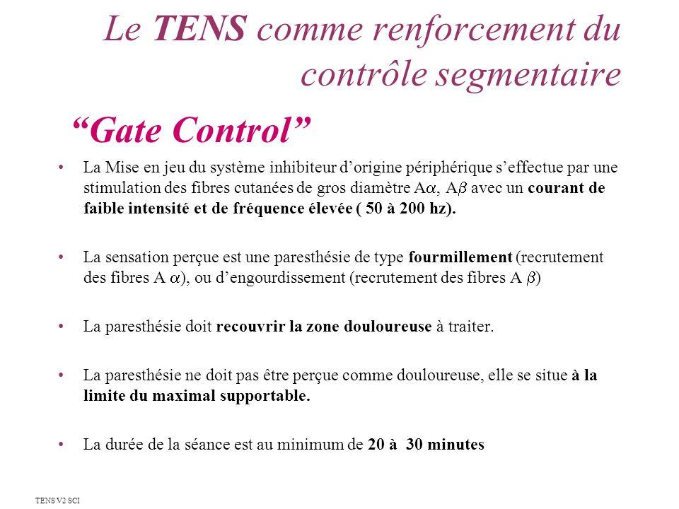 Le TENS comme renforcement du contrôle segmentaire La Mise en jeu du système inhibiteur dorigine périphérique seffectue par une stimulation des fibres