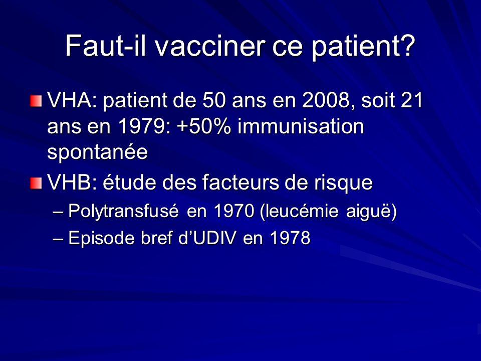 Faut-il vacciner ce patient? VHA: patient de 50 ans en 2008, soit 21 ans en 1979: +50% immunisation spontanée VHB: étude des facteurs de risque –Polyt