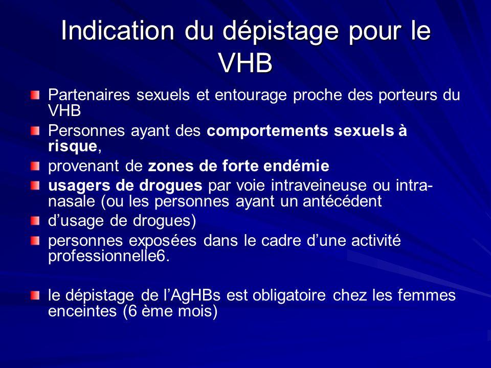 Indication du dépistage pour le VHB Partenaires sexuels et entourage proche des porteurs du VHB Personnes ayant des comportements sexuels à risque, pr