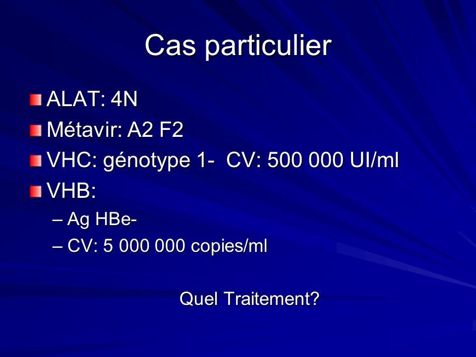 Cas particulier ALAT: 4N Métavir: A2 F2 VHC: génotype 1- CV: 500 000 UI/ml VHB: –Ag HBe- –CV: 5 000 000 copies/ml Quel Traitement?