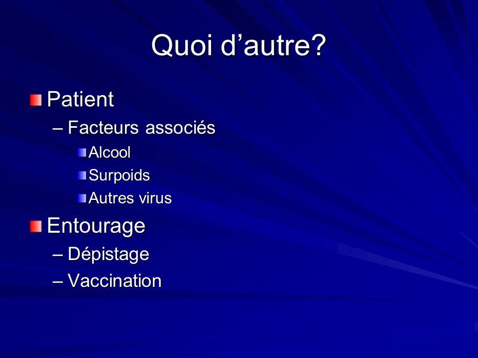 Quoi dautre? Patient –Facteurs associés AlcoolSurpoids Autres virus Entourage –Dépistage –Vaccination