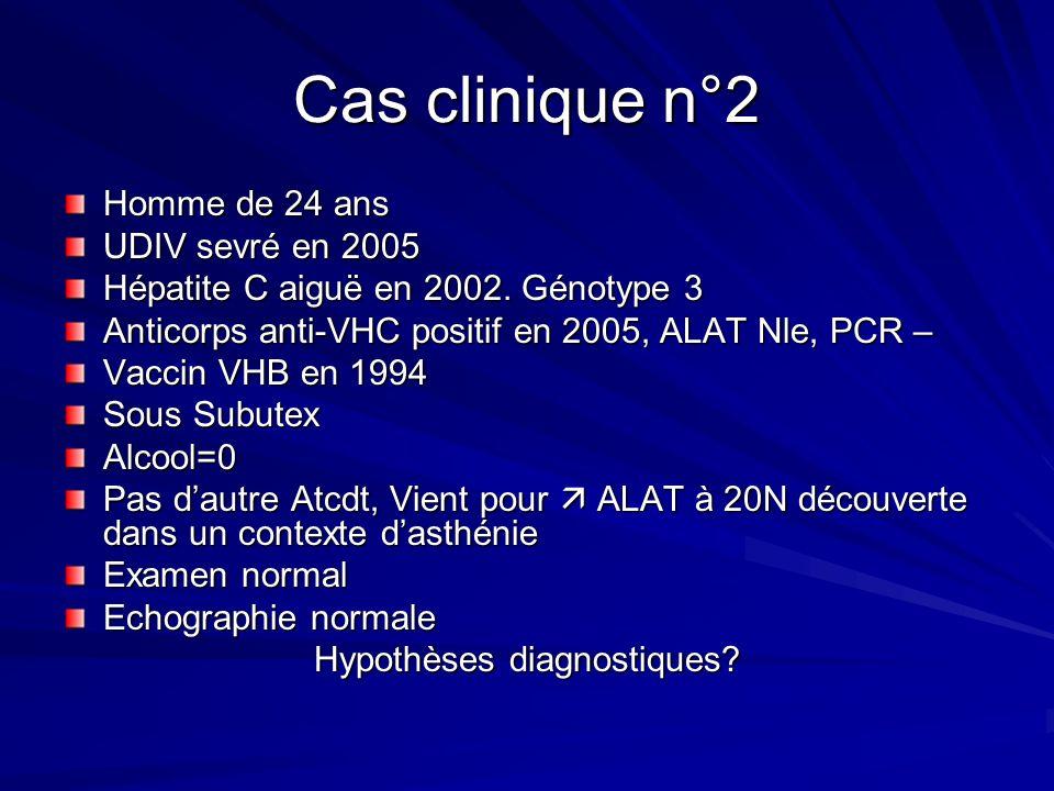Homme de 24 ans UDIV sevré en 2005 Hépatite C aiguë en 2002. Génotype 3 Anticorps anti-VHC positif en 2005, ALAT Nle, PCR – Vaccin VHB en 1994 Sous Su