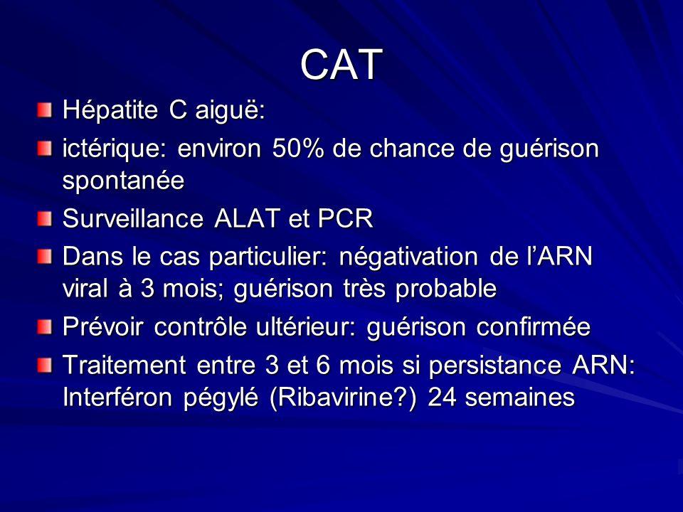 CAT Hépatite C aiguë: ictérique: environ 50% de chance de guérison spontanée Surveillance ALAT et PCR Dans le cas particulier: négativation de lARN vi