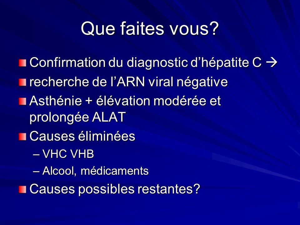Confirmation du diagnostic dhépatite C Confirmation du diagnostic dhépatite C recherche de lARN viral négative Asthénie + élévation modérée et prolong