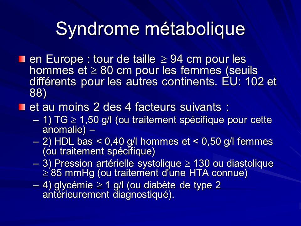 Syndrome métabolique en Europe : tour de taille 94 cm pour les hommes et 80 cm pour les femmes (seuils différents pour les autres continents. EU: 102