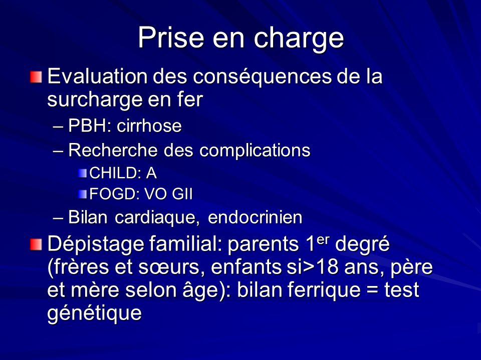 Prise en charge Evaluation des conséquences de la surcharge en fer –PBH: cirrhose –Recherche des complications CHILD: A FOGD: VO GII –Bilan cardiaque,