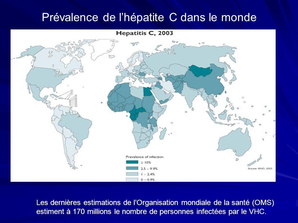 Prévalence de lhépatite C dans le monde Les dernières estimations de lOrganisation mondiale de la santé (OMS) estiment à 170 millions le nombre de per