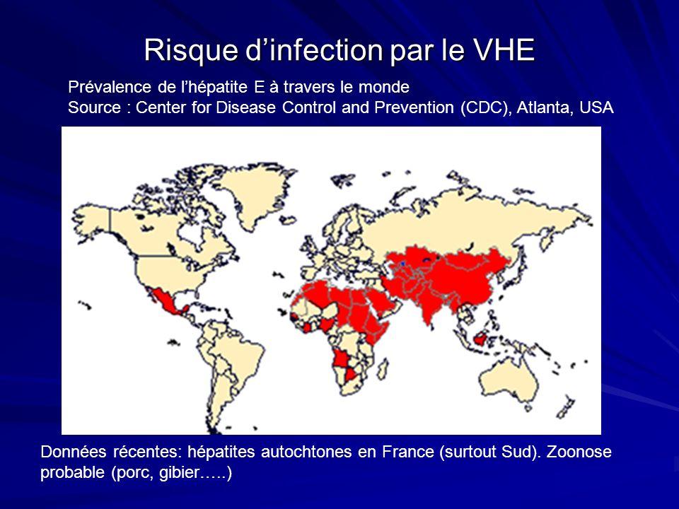 Risque dinfection par le VHE Prévalence de lhépatite E à travers le monde Source : Center for Disease Control and Prevention (CDC), Atlanta, USA Donné