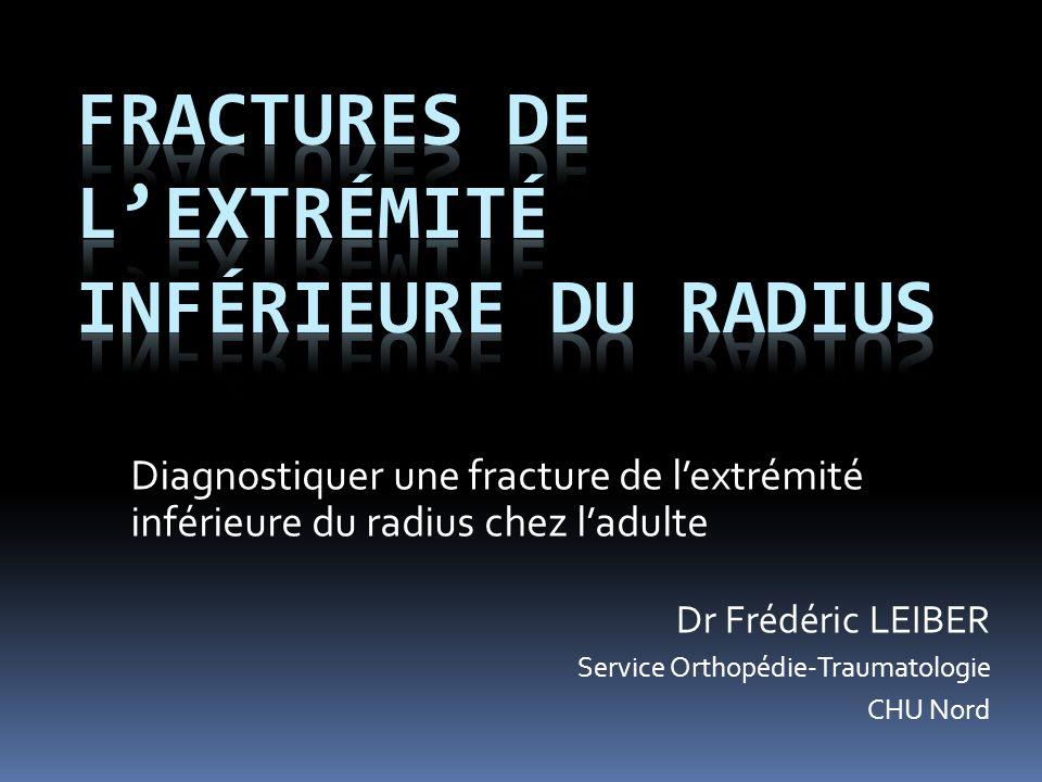 Diagnostiquer une fracture de lextrémité inférieure du radius chez ladulte Dr Frédéric LEIBER Service Orthopédie-Traumatologie CHU Nord
