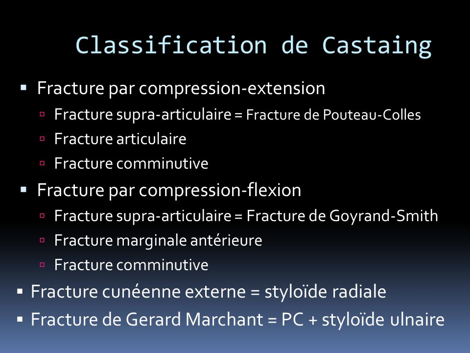 Classification de Castaing Fracture par compression-extension Fracture supra-articulaire = Fracture de Pouteau-Colles Fracture articulaire Fracture co