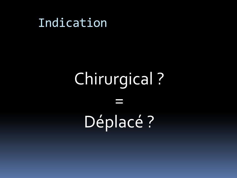 Indication Chirurgical ? = Déplacé ?