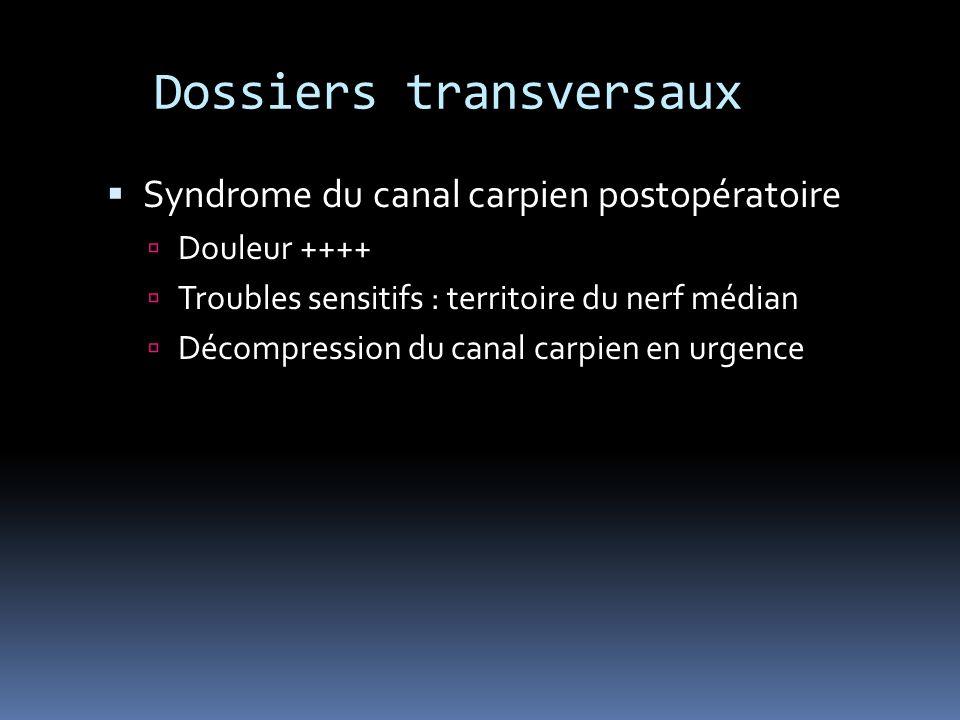 Dossiers transversaux Syndrome du canal carpien postopératoire Douleur ++++ Troubles sensitifs : territoire du nerf médian Décompression du canal carp