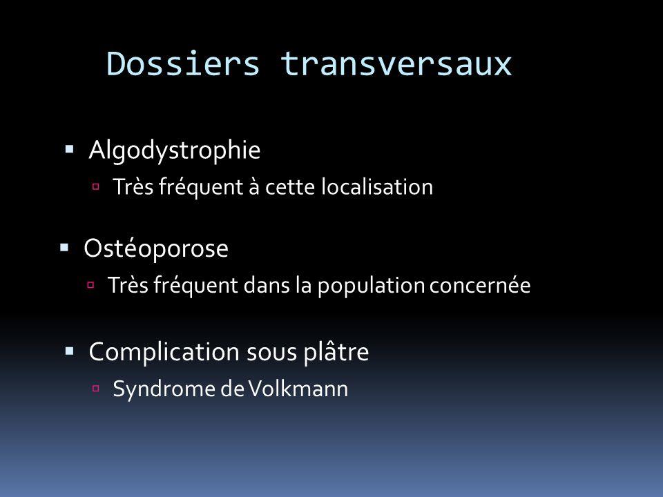 Dossiers transversaux Algodystrophie Très fréquent à cette localisation Ostéoporose Très fréquent dans la population concernée Complication sous plâtr