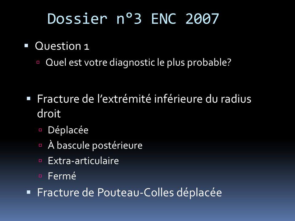 Dossier n°3 ENC 2007 Question 1 Quel est votre diagnostic le plus probable? Fracture de lextrémité inférieure du radius droit Déplacée À bascule posté