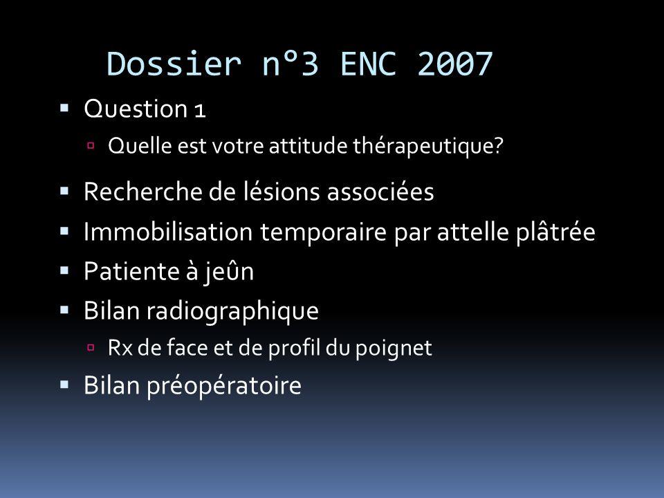 Dossier n°3 ENC 2007 Question 1 Quelle est votre attitude thérapeutique? Recherche de lésions associées Immobilisation temporaire par attelle plâtrée