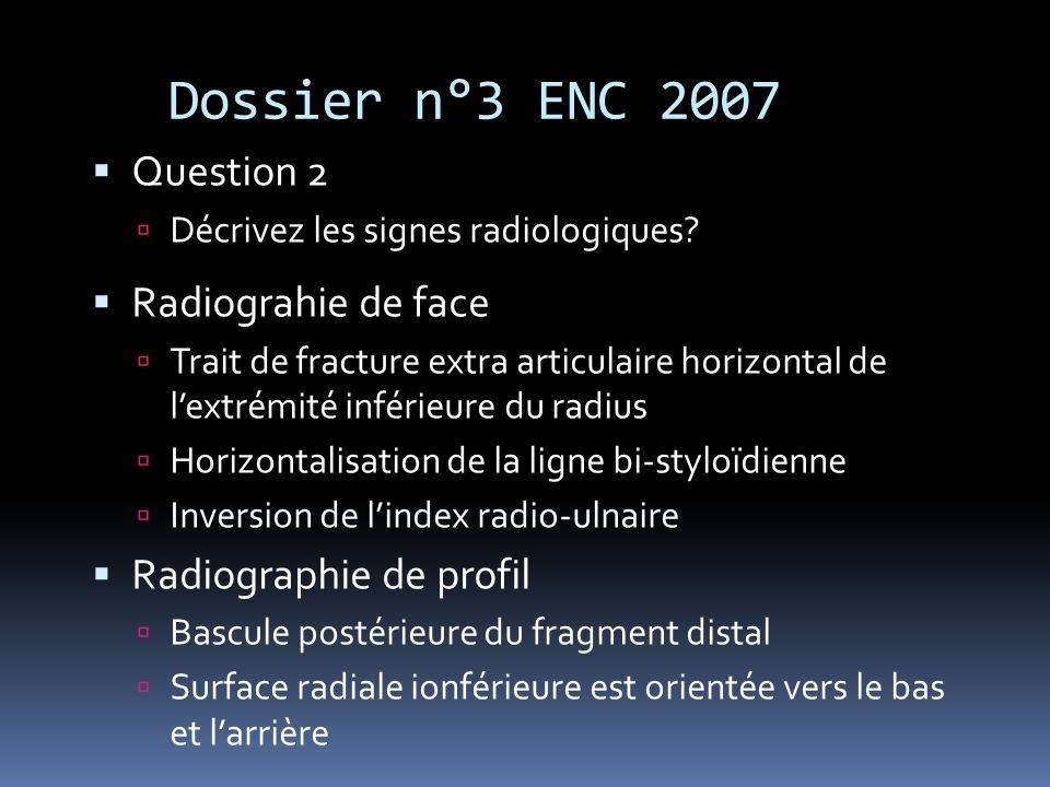 Dossier n°3 ENC 2007 Question 2 Décrivez les signes radiologiques? Radiograhie de face Trait de fracture extra articulaire horizontal de lextrémité in