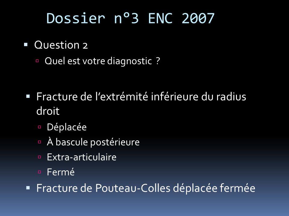 Dossier n°3 ENC 2007 Question 2 Quel est votre diagnostic ? Fracture de lextrémité inférieure du radius droit Déplacée À bascule postérieure Extra-art