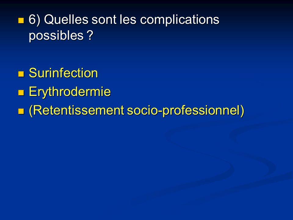 6) Quelles sont les complications possibles ? 6) Quelles sont les complications possibles ? Surinfection Surinfection Erythrodermie Erythrodermie (Ret