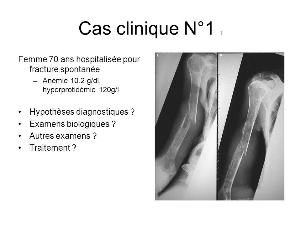 Cas clinique N°1 1 Femme 70 ans hospitalisée pour fracture spontanée –Anémie 10.2 g/dl, hyperprotidémie 120g/l Hypothèses diagnostiques ? Examens biol