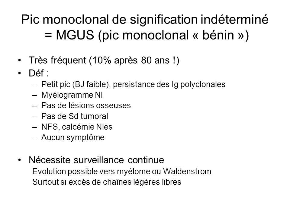 Pic monoclonal de signification indéterminé = MGUS (pic monoclonal « bénin ») Très fréquent (10% après 80 ans !) Déf : –Petit pic (BJ faible), persist