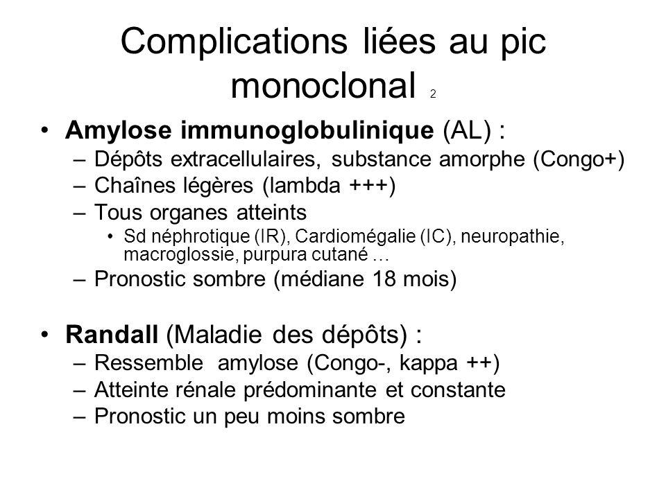 Complications liées au pic monoclonal 2 Amylose immunoglobulinique (AL) : –Dépôts extracellulaires, substance amorphe (Congo+) –Chaînes légères (lambd