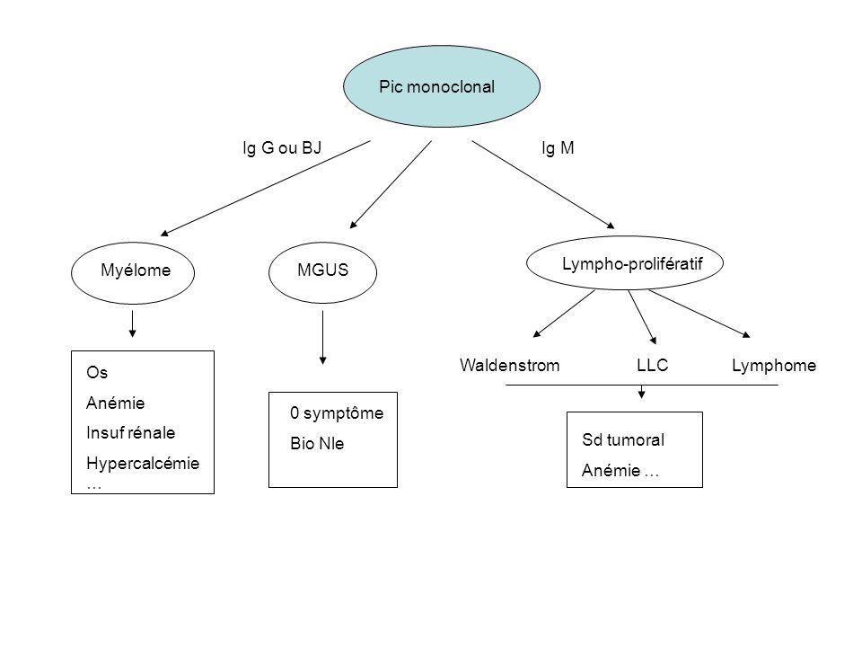 Pic monoclonal Ig G ou BJIg M Myélome Lympho-prolifératif WaldenstromLLCLymphome MGUS Os Anémie Insuf rénale Hypercalcémie … 0 symptôme Bio Nle Sd tum