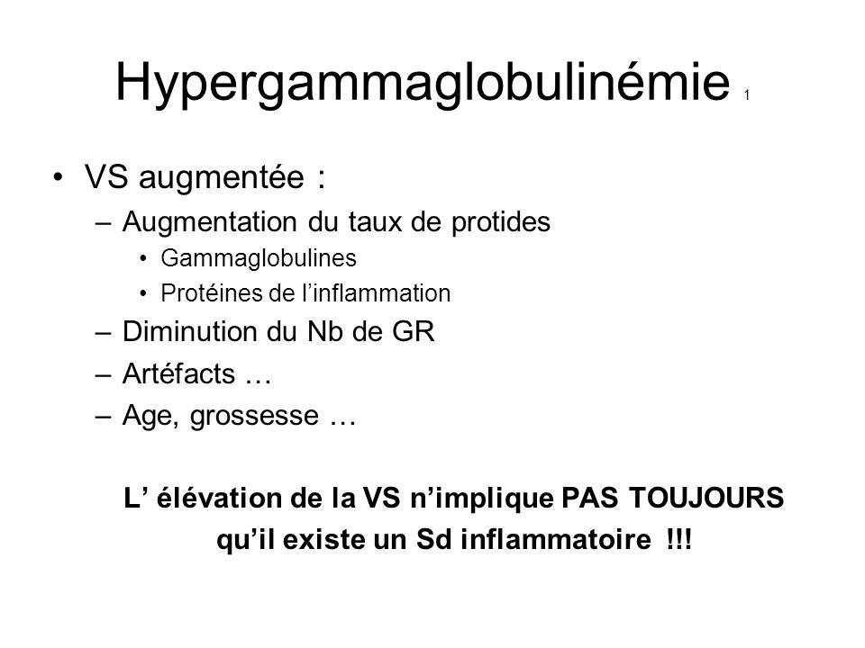 Hypergammaglobulinémie 1 VS augmentée : –Augmentation du taux de protides Gammaglobulines Protéines de linflammation –Diminution du Nb de GR –Artéfact