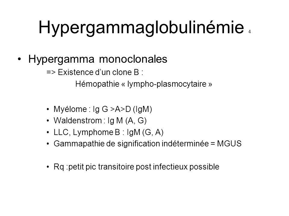 Hypergammaglobulinémie 4 Hypergamma monoclonales => Existence dun clone B : Hémopathie « lympho-plasmocytaire » Myélome : Ig G >A>D (IgM) Waldenstrom