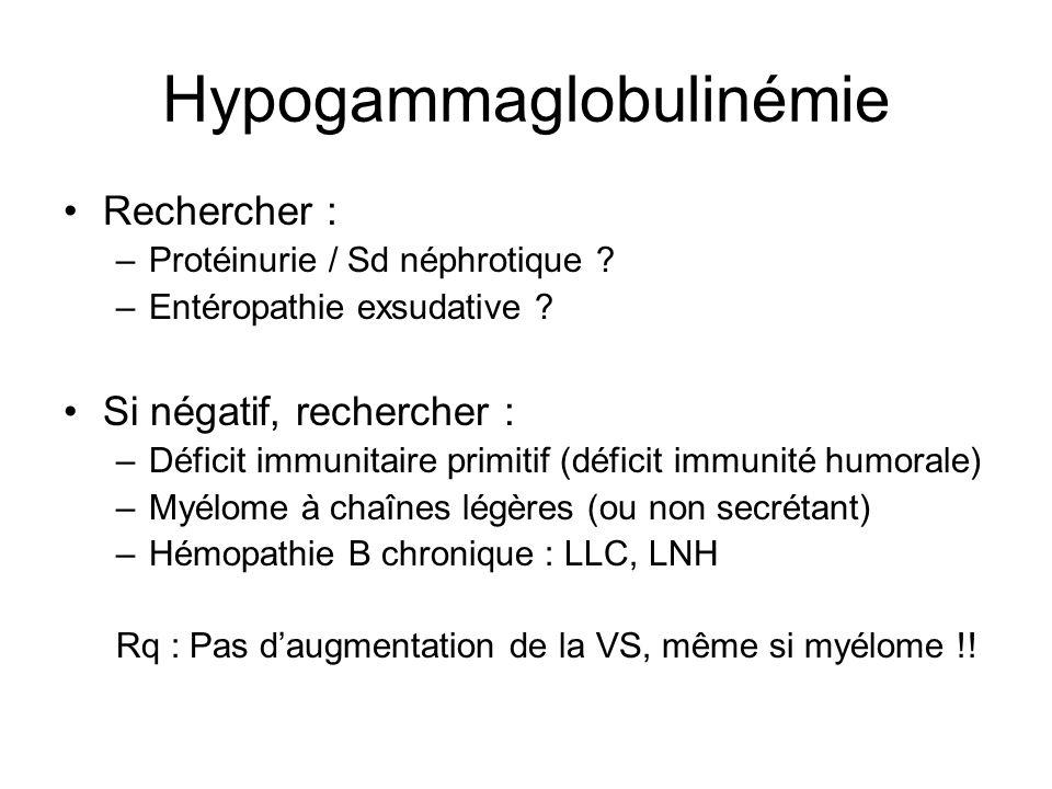Hypogammaglobulinémie Rechercher : –Protéinurie / Sd néphrotique ? –Entéropathie exsudative ? Si négatif, rechercher : –Déficit immunitaire primitif (