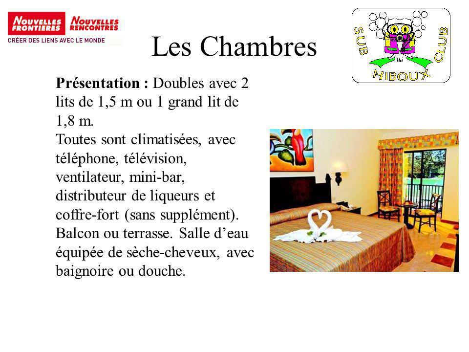 Les Chambres Présentation : Doubles avec 2 lits de 1,5 m ou 1 grand lit de 1,8 m.