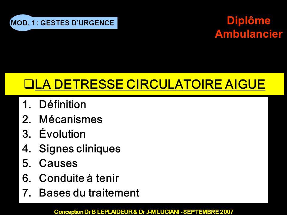 : GESTES DURGENCE Conception Dr B LEPLAIDEUR & Dr J-M LUCIANI - SEPTEMBRE 2007 MOD. 1 Diplôme Ambulancier TITRE DE CHAPITRE LA DETRESSE CIRCULATOIRE A