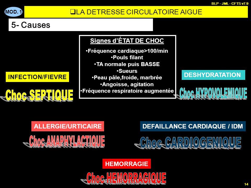 MOD. 1 BLP - JML - CFTS v7.9 14 Signes dÉTAT DE CHOC Fréquence cardiaque>100/min Pouls filant TA normale puis BASSE Sueurs Peau pâle,froide, marbrée A
