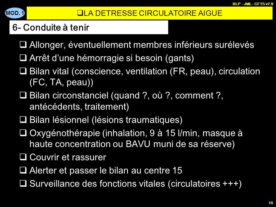 MOD. 1 BLP - JML - CFTS v7.9 15 Allonger, éventuellement membres inférieurs surélevés Arrêt dune hémorragie si besoin (gants) Bilan vital (conscience,