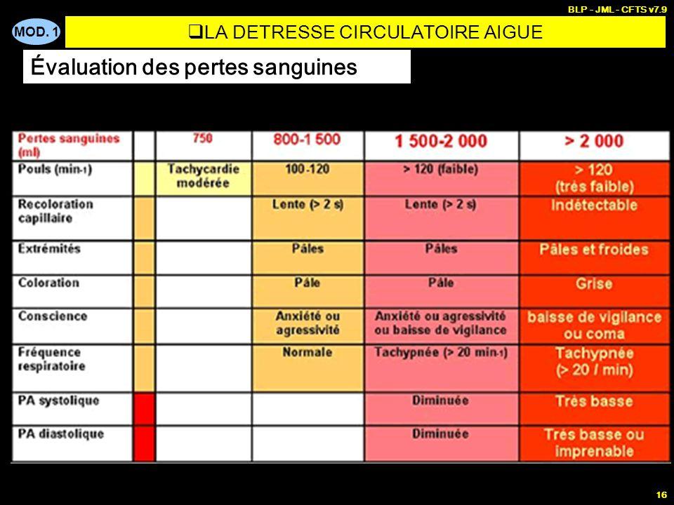 MOD. 1 BLP - JML - CFTS v7.9 16 LA DETRESSE CIRCULATOIRE AIGUE Évaluation des pertes sanguines