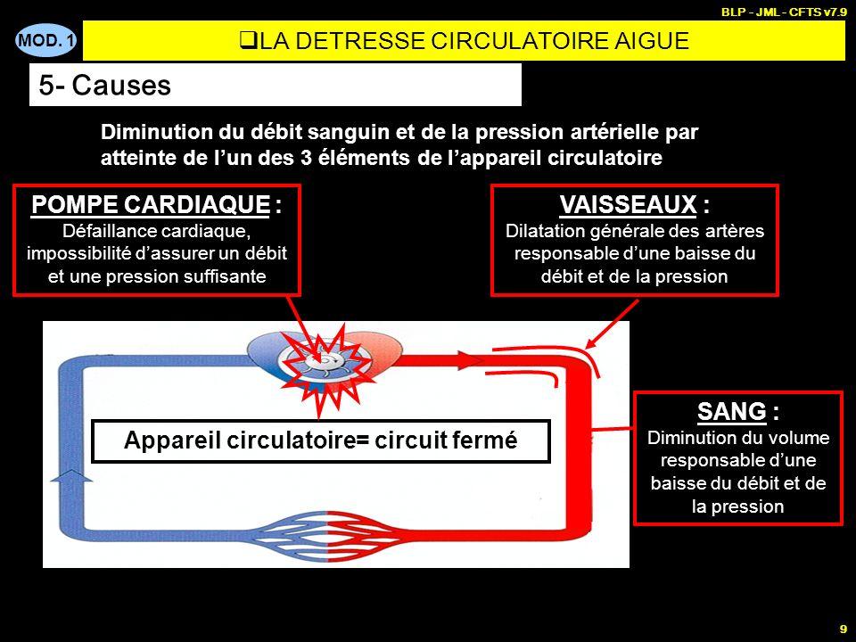 MOD. 1 BLP - JML - CFTS v7.9 9 Diminution du débit sanguin et de la pression artérielle par atteinte de lun des 3 éléments de lappareil circulatoire A