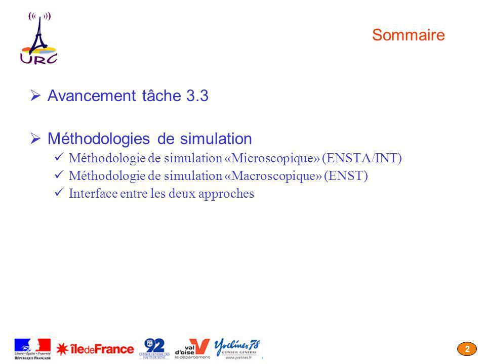 2 Sommaire Avancement tâche 3.3 Méthodologies de simulation Méthodologie de simulation «Microscopique» (ENSTA/INT) Méthodologie de simulation «Macroscopique» (ENST) Interface entre les deux approches