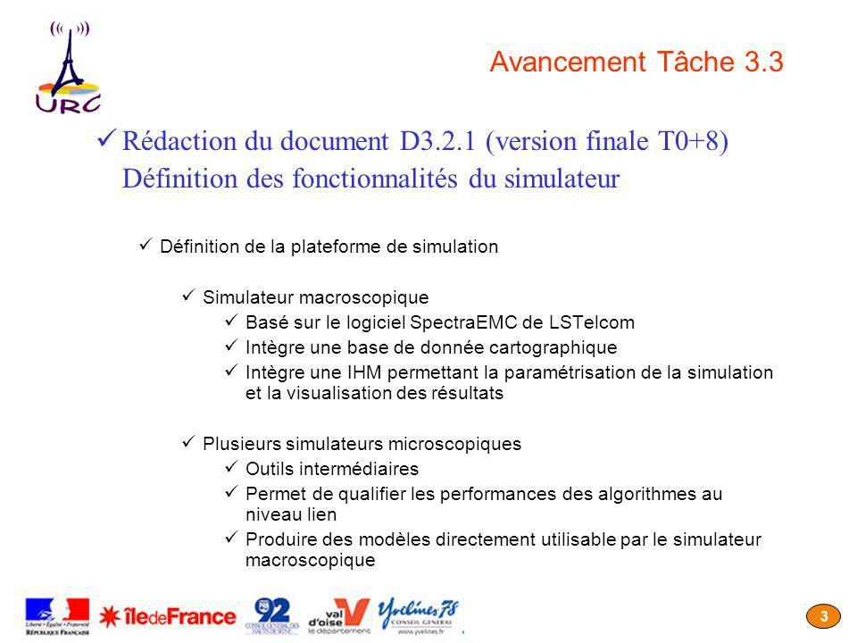 3 Avancement Tâche 3.3 Rédaction du document D3.2.1 (version finale T0+8) Définition des fonctionnalités du simulateur Définition de la plateforme de simulation Simulateur macroscopique Basé sur le logiciel SpectraEMC de LSTelcom Intègre une base de donnée cartographique Intègre une IHM permettant la paramétrisation de la simulation et la visualisation des résultats Plusieurs simulateurs microscopiques Outils intermédiaires Permet de qualifier les performances des algorithmes au niveau lien Produire des modèles directement utilisable par le simulateur macroscopique