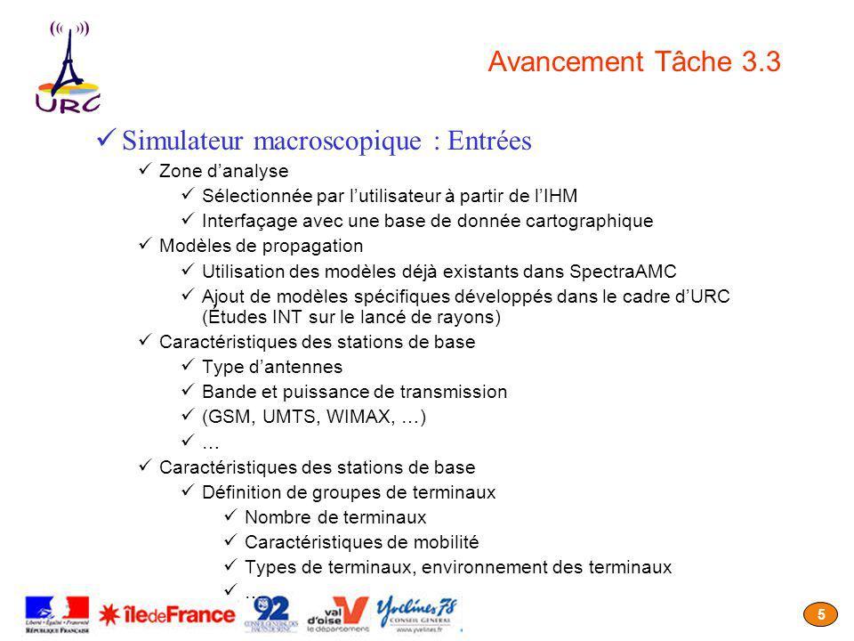 5 Avancement Tâche 3.3 Simulateur macroscopique : Entrées Zone danalyse Sélectionnée par lutilisateur à partir de lIHM Interfaçage avec une base de do