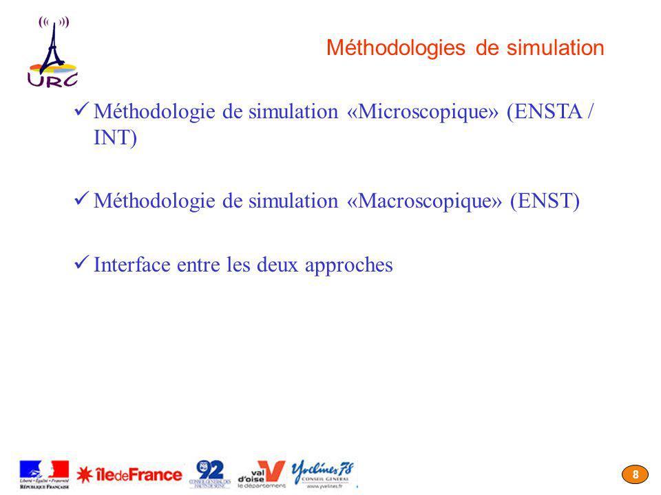 8 Méthodologies de simulation Méthodologie de simulation «Microscopique» (ENSTA / INT) Méthodologie de simulation «Macroscopique» (ENST) Interface ent