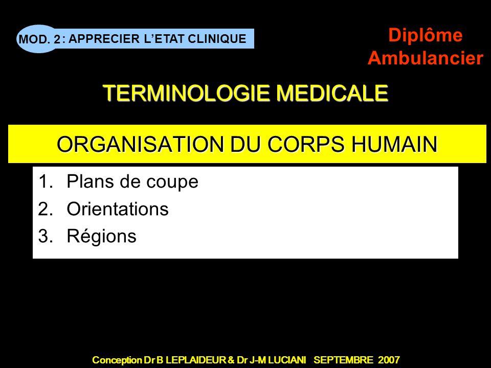 Conception Dr B LEPLAIDEUR & Dr J-M LUCIANI SEPTEMBRE 2007 : APPRECIER LETAT CLINIQUE MOD. 2 Diplôme Ambulancier TERMINOLOGIE MEDICALE ORGANISATION DU
