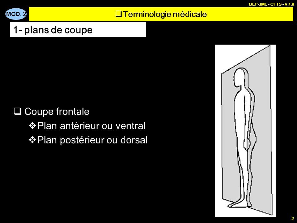 MOD. 2 BLP-JML - CFTS - v 7.9 2 Terminologie médicale Coupe frontale Plan antérieur ou ventral Plan postérieur ou dorsal 1- plans de coupe