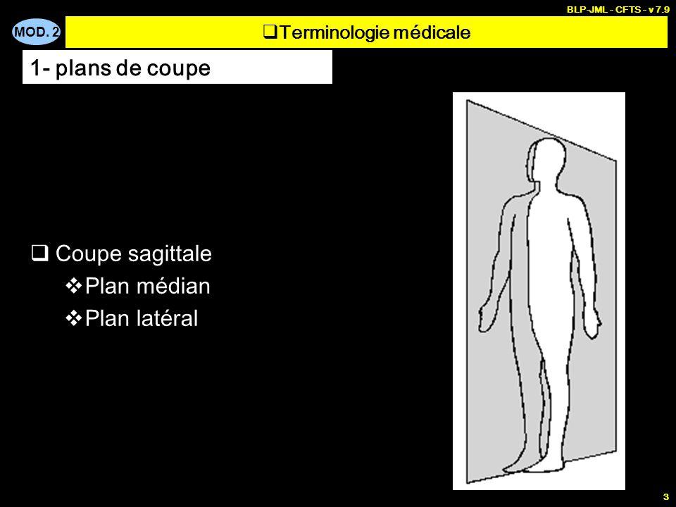 MOD. 2 BLP-JML - CFTS - v 7.9 3 Terminologie médicale Coupe sagittale Plan médian Plan latéral 1- plans de coupe