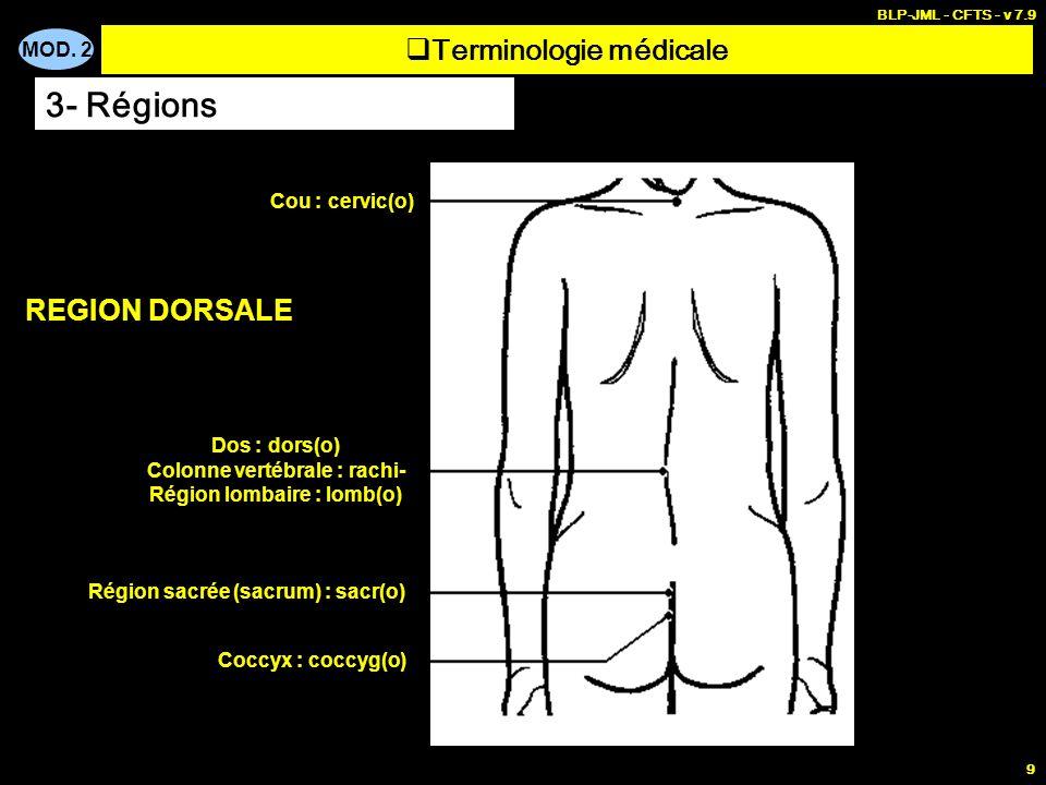 MOD. 2 BLP-JML - CFTS - v 7.9 9 Terminologie médicale 3- Régions Cou : cervic(o) Dos : dors(o) Colonne vertébrale : rachi- Région lombaire : lomb(o) R