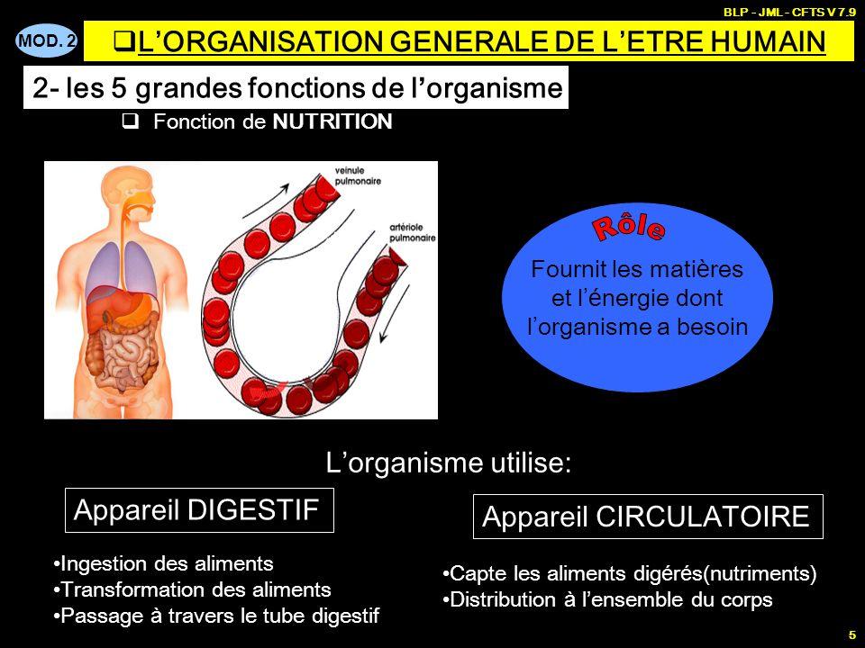 MOD. 2 BLP - JML - CFTS V 7.9 5 Fonction de NUTRITION Fournit les mati è res et l é nergie dont l organisme a besoin Appareil DIGESTIF Appareil CIRCUL