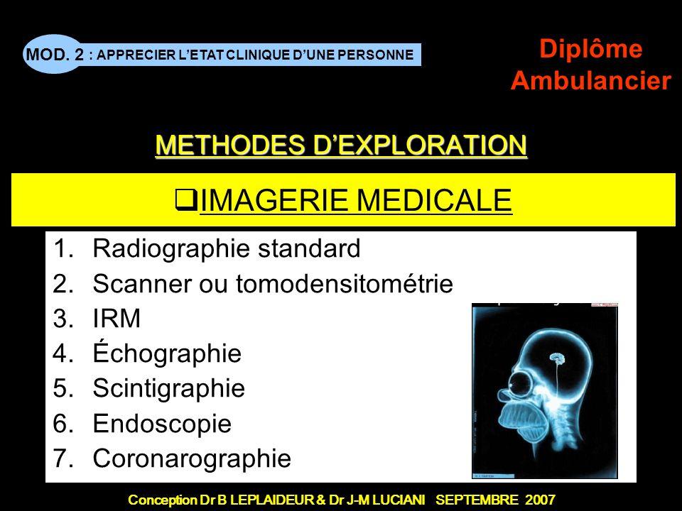Conception Dr B LEPLAIDEUR & Dr J-M LUCIANI SEPTEMBRE 2007 : APPRECIER LETAT CLINIQUE DUNE PERSONNE MOD. 2 Diplôme Ambulancier IMAGERIE MEDICALE 1.Rad