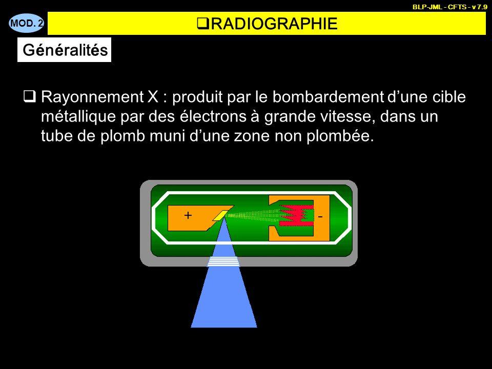 MOD. 2 BLP-JML - CFTS - v 7.9 RADIOGRAPHIE Rayonnement X : produit par le bombardement dune cible métallique par des électrons à grande vitesse, dans