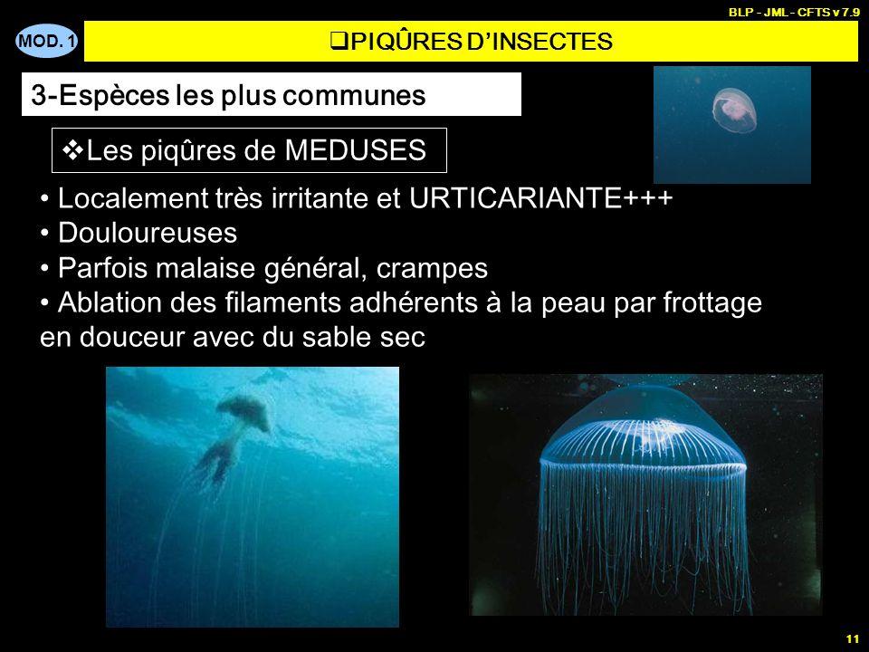 MOD. 1 BLP - JML - CFTS v 7.9 11 PIQÛRES DINSECTES 3-Espèces les plus communes Les piq û res de MEDUSES Localement tr è s irritante et URTICARIANTE+++