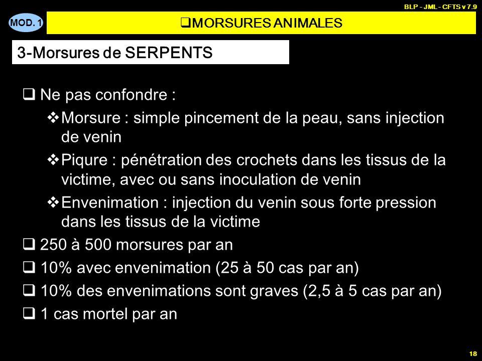 MOD. 1 BLP - JML - CFTS v 7.9 18 MORSURES ANIMALES Ne pas confondre : Morsure : simple pincement de la peau, sans injection de venin Piqure : pénétrat
