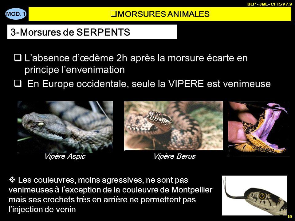 MOD. 1 BLP - JML - CFTS v 7.9 19 MORSURES ANIMALES Labsence dœdème 2h après la morsure écarte en principe lenvenimation En Europe occidentale, seule l